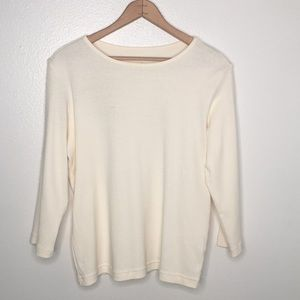 Christopher&Banks Cream 3/4 Sleeve Top